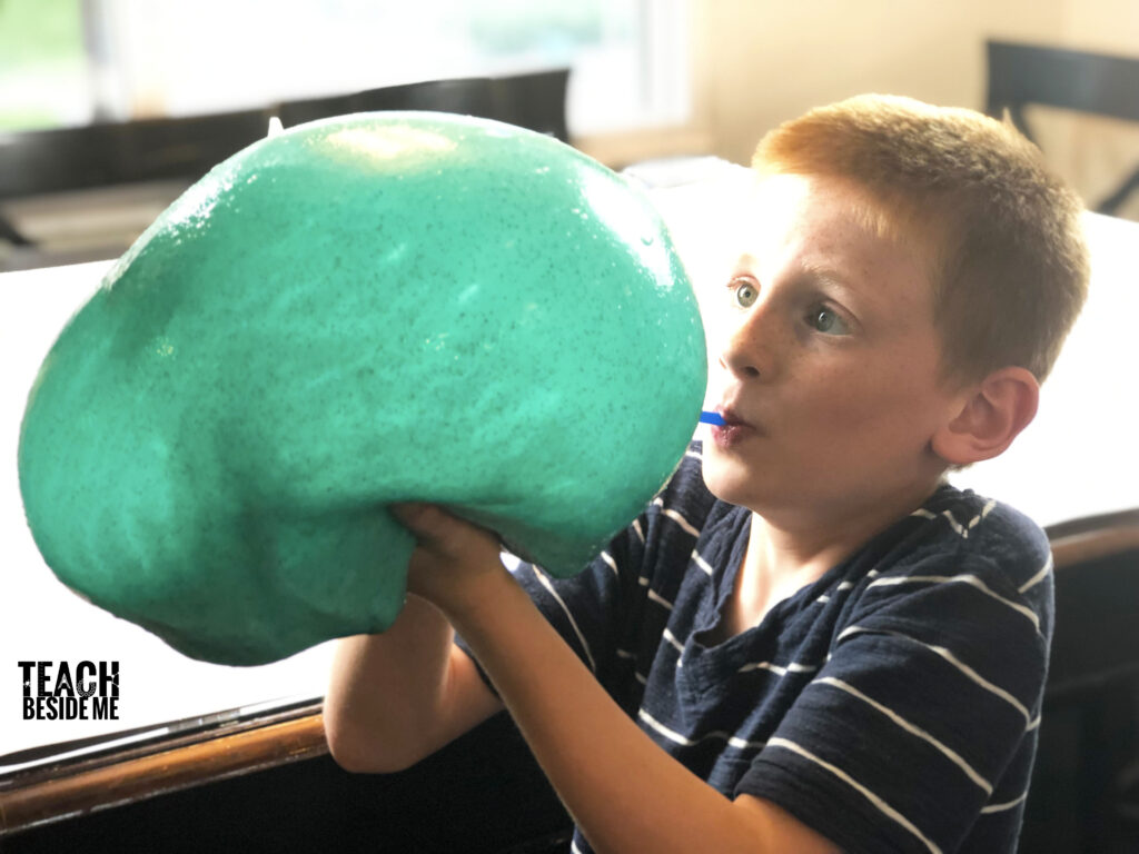 blowing slime bubbles