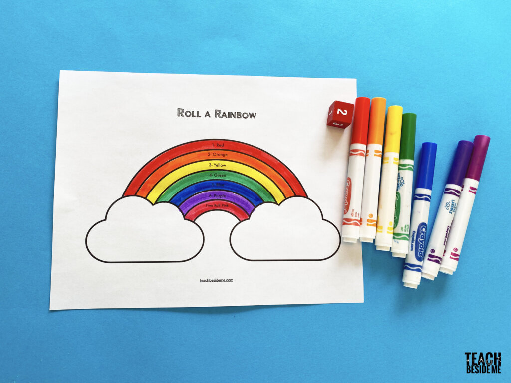 Roll a rainbow preschool math game