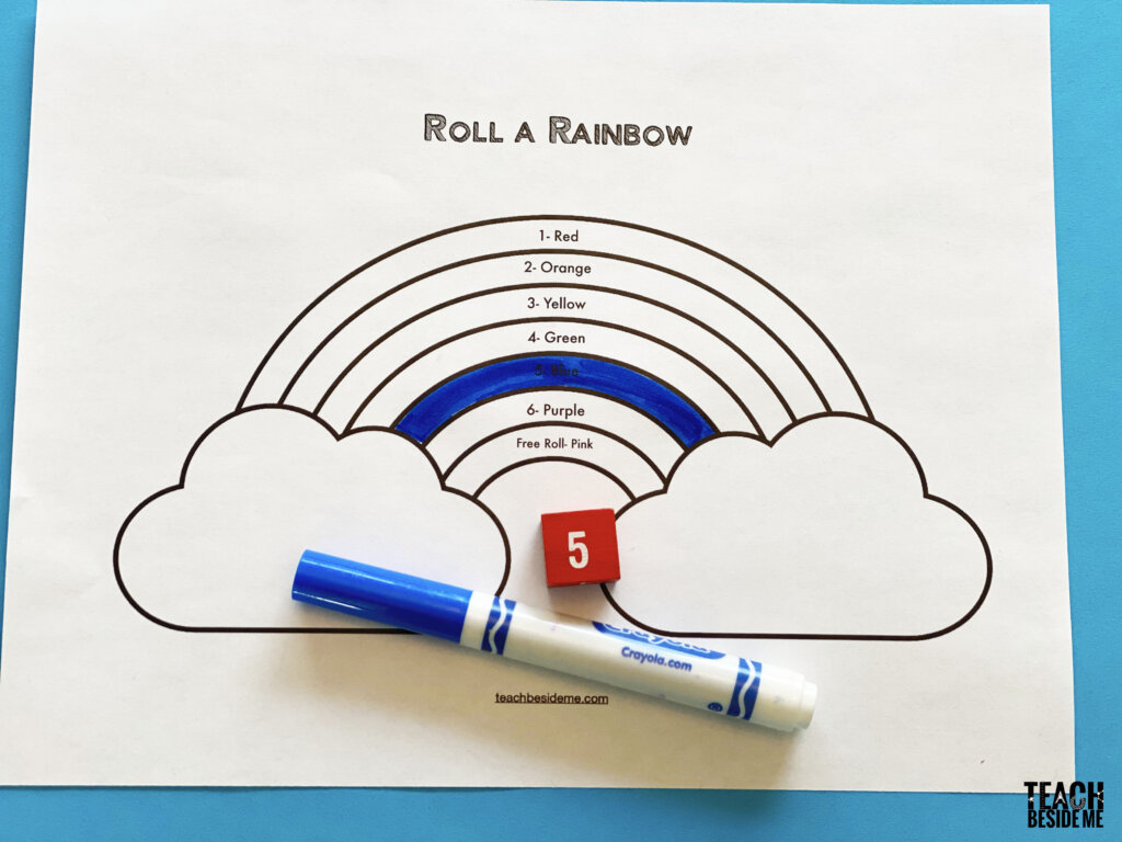 roll a rainbow preschool math game with dice