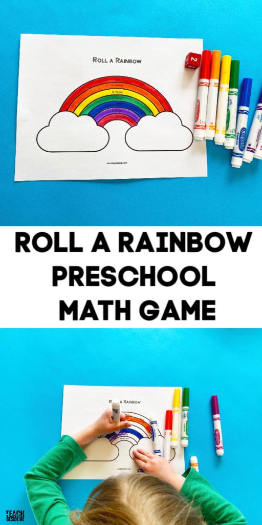 roll a rainbow printable preschool math game