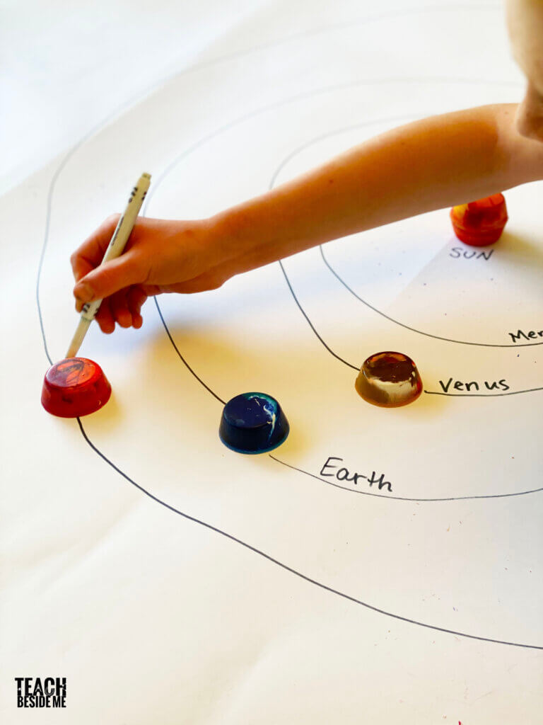 solar system model with jumbo crayons