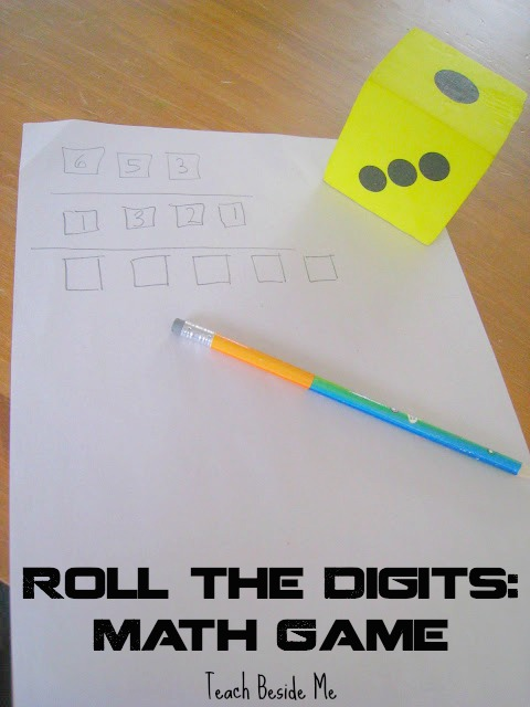 Roll and place the digits math game