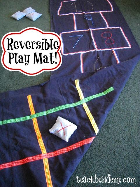 Reversible Hopscotch and Tic-Tac-Toe Mat