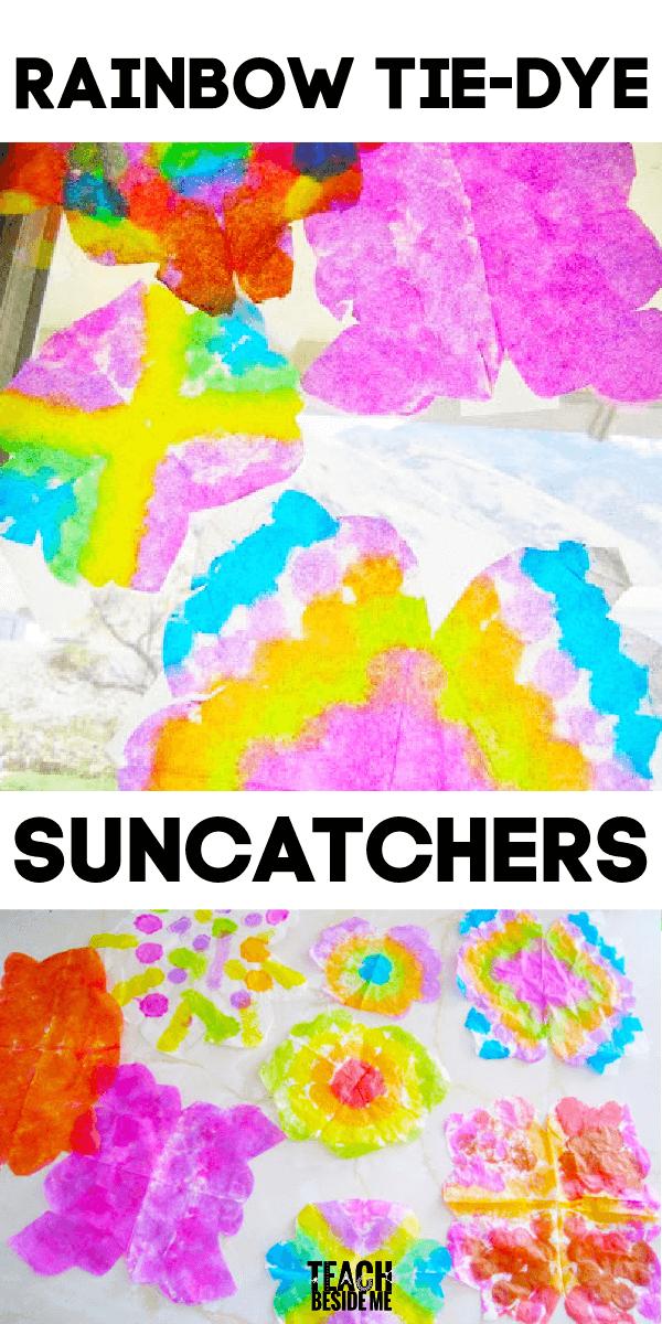 Rainbow Tie-Dye Suncatchers Craft