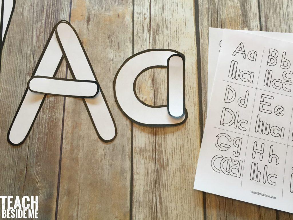 Preschool alphabet letter building templates teach beside me for Building letters