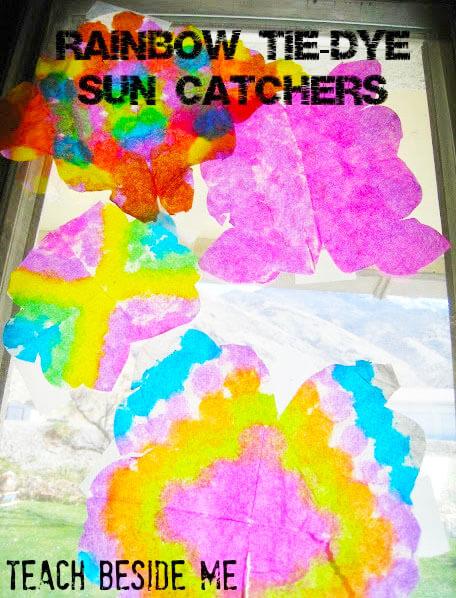 suncatchers rainbow tie dye
