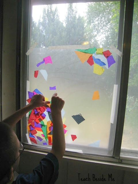 Rainbow Stained Glass Window craft with kids