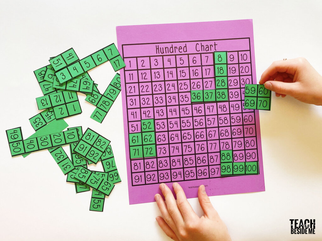 hundred chart puzzle for math