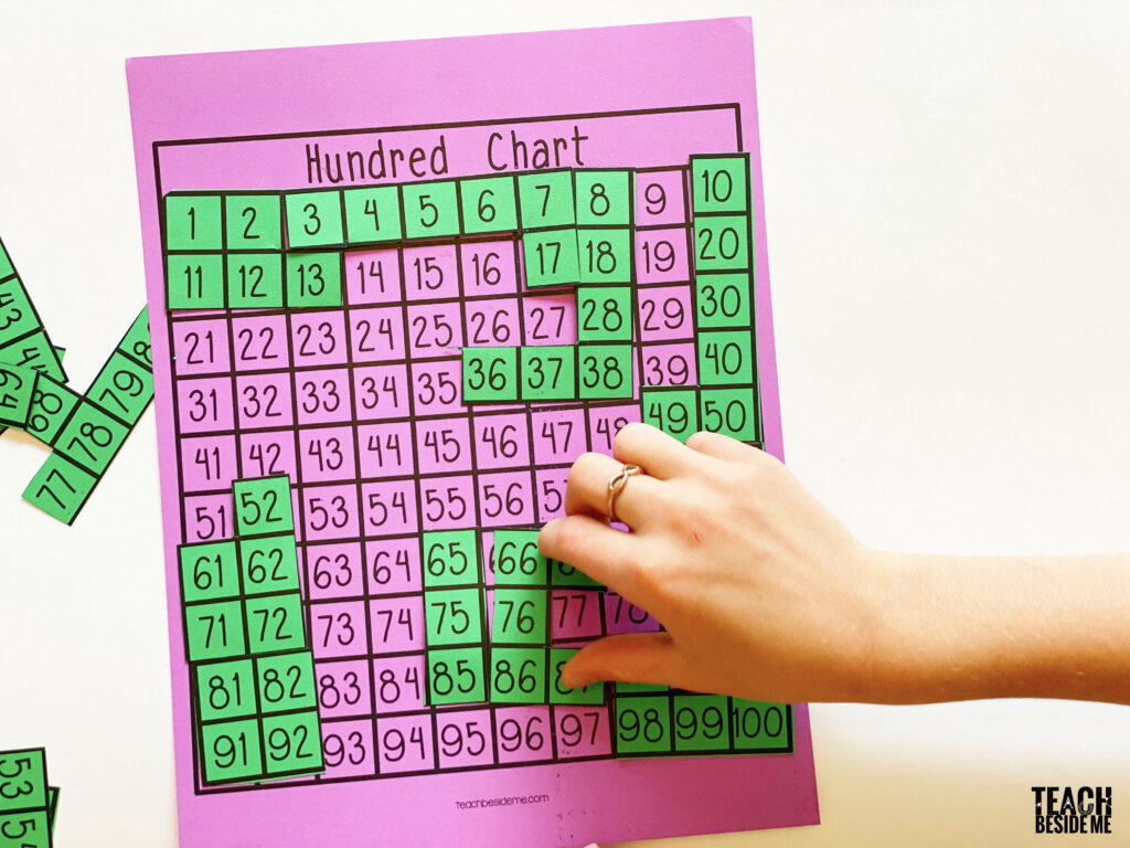 make a hundred chart puzzle math game