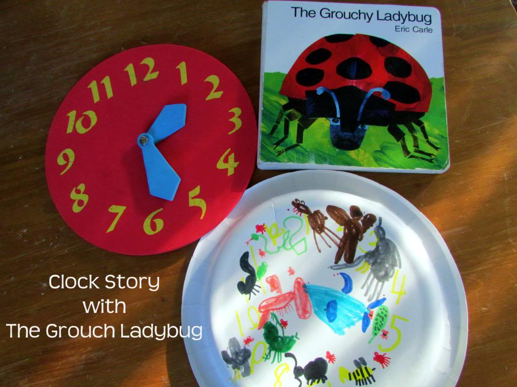 Eric Carle Grouchy Ladybug Activity ~Clock Stories
