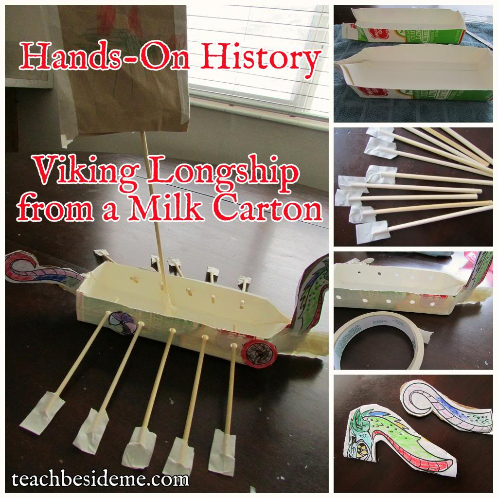 make a viking longship from a milk carton