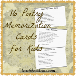 Poetry Memorization Cards for Kids