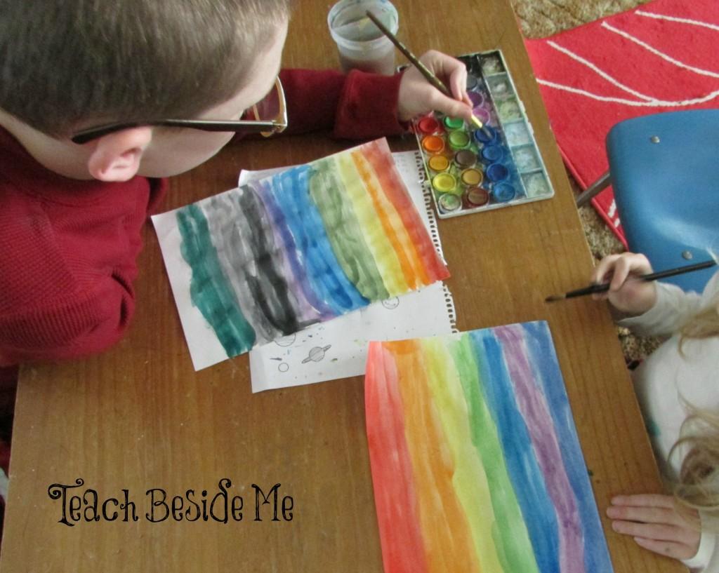 watercolor rainbow paper weaving craft