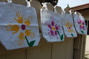 kid painted canvas bags