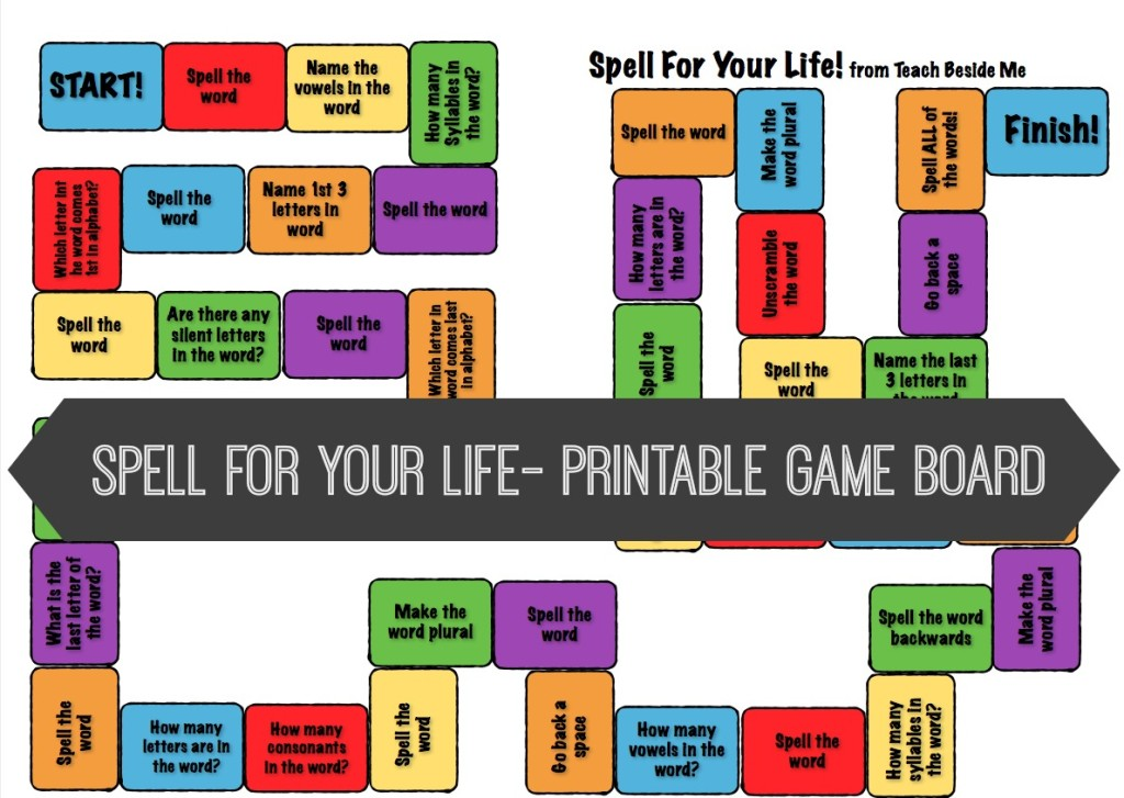 photograph about Printable Spelling Games known as Spell For Your Daily life Board Video game