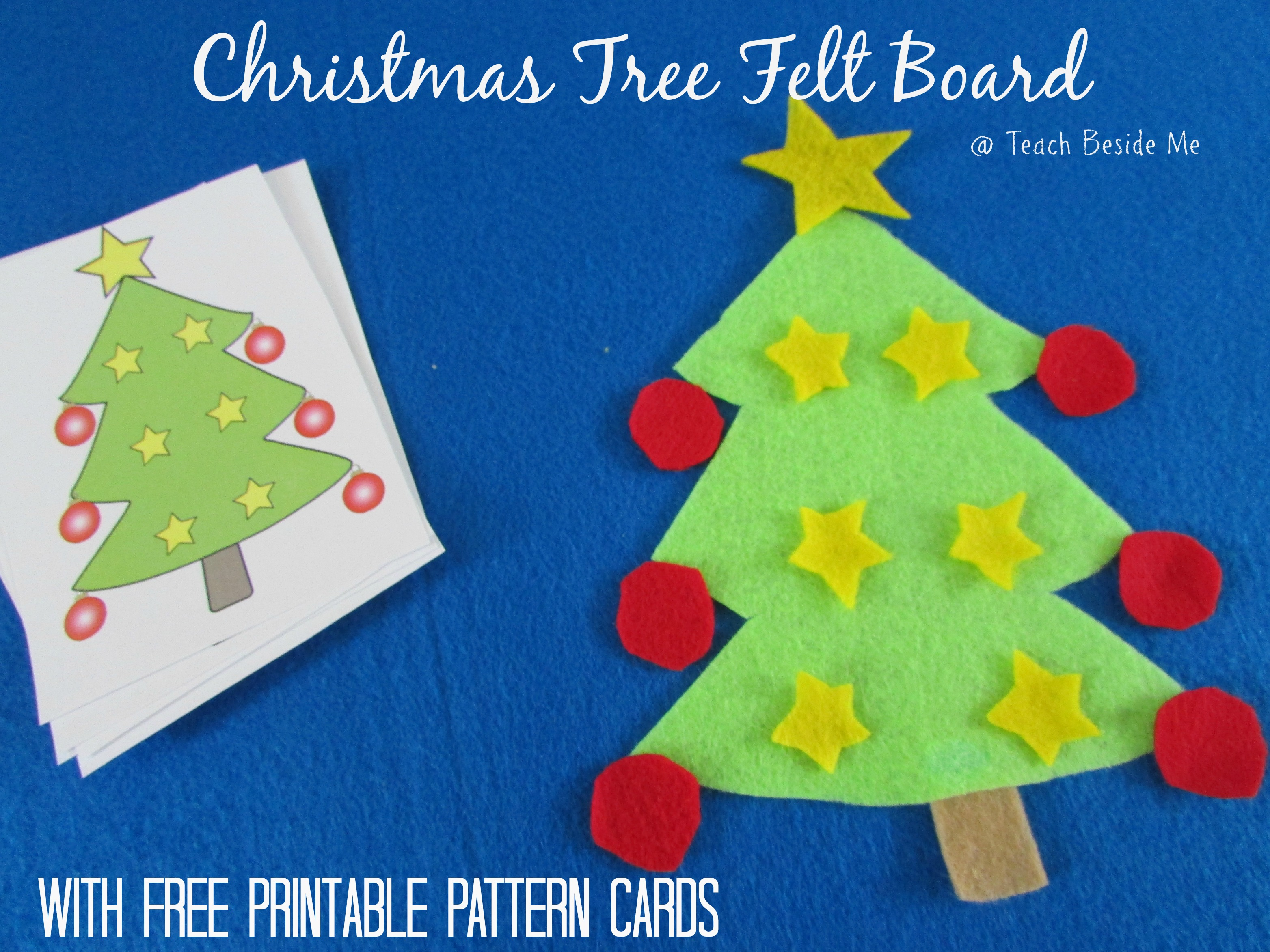 picture about Free Printable Christmas Ornament Patterns referred to as Xmas Tree Felt Board With Printable Playing cards Educate Beside Me