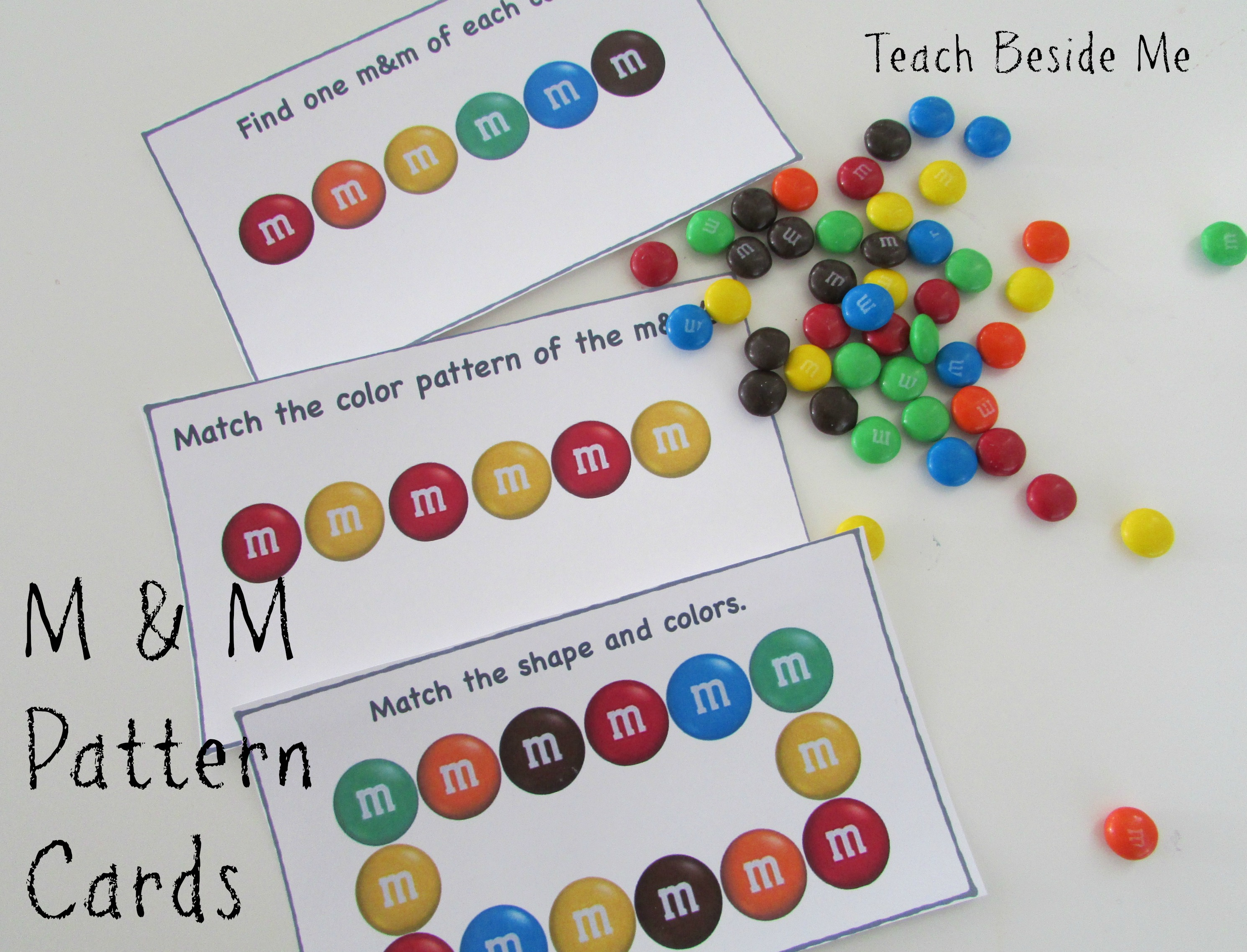 M and M Math Pattern Cards Teach Beside Me – Mandm Fractions Worksheet