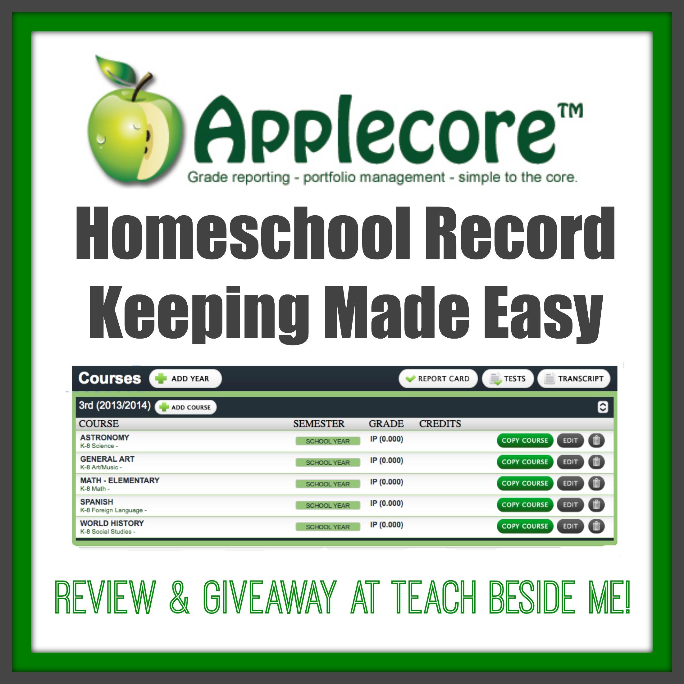 applecore homeschool record keeping teach beside me