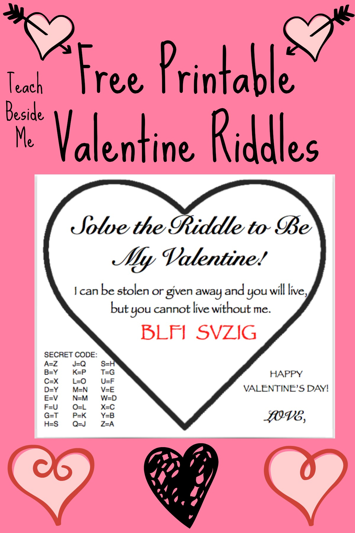 picture about Valentine Printable named Absolutely free Printable Valentine Riddle Playing cards Train Beside Me