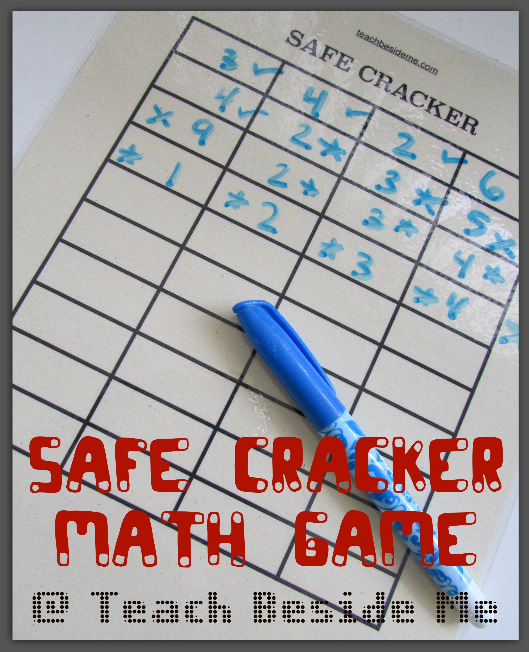 Safe Cracker Printable Math Game