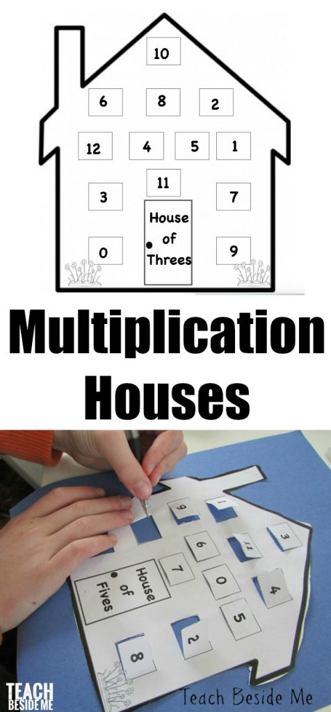 Multiplication Houses Printable to practice multiplication facts