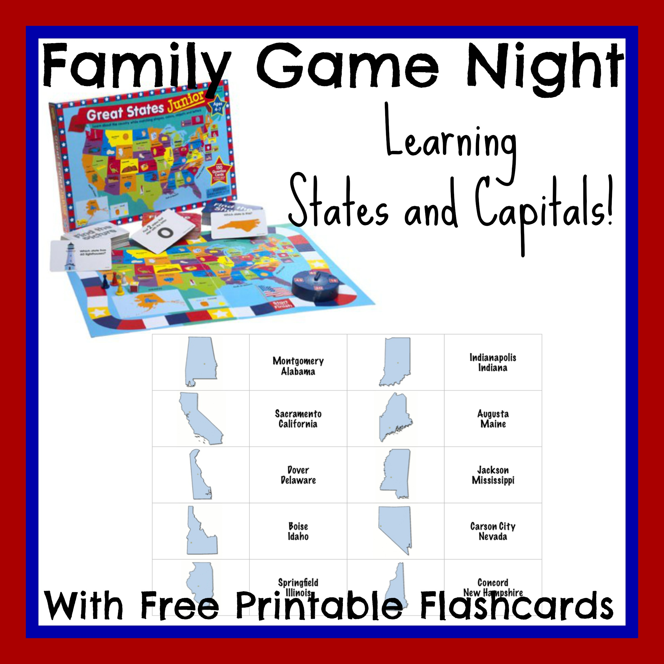 picture regarding States and Capitals Flash Cards Printable referred to as Understanding Says and Capitals with Household Video game Evening! 3