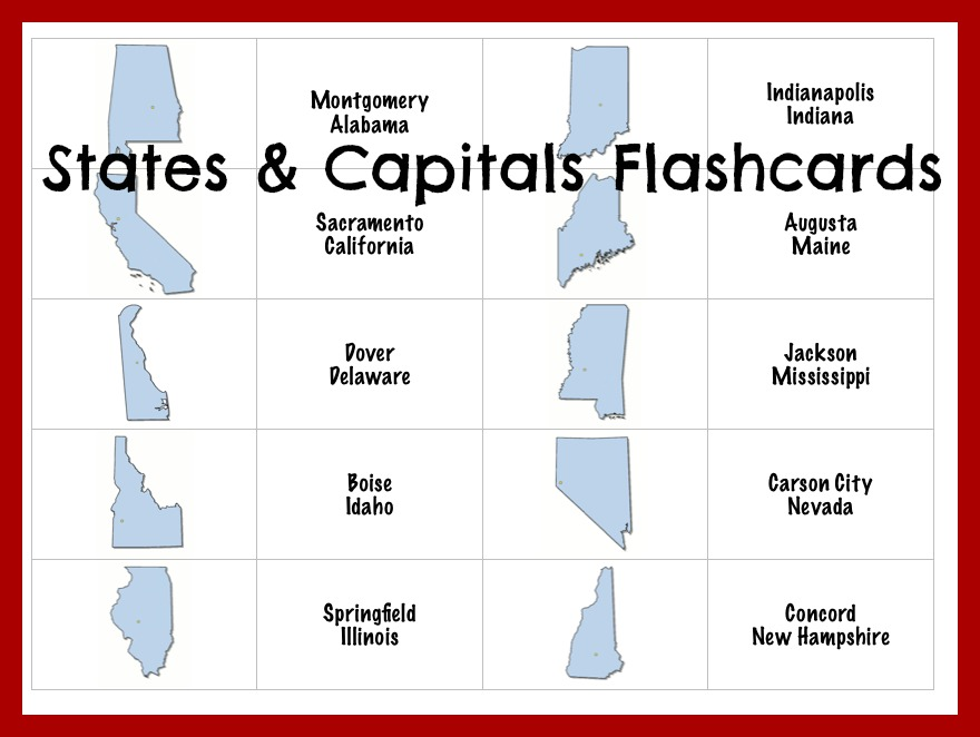 picture relating to 50 States Flash Cards Printable titled no cost says and capitals flashcards Educate Beside Me