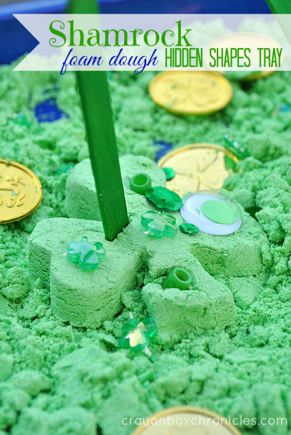 shamrock-foam-dough-hidden-shapes-tray