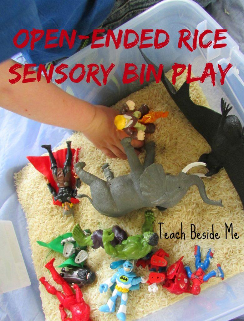Open-Ended Rice Sensory Bin Play