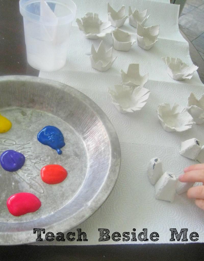 egg carton flower painting