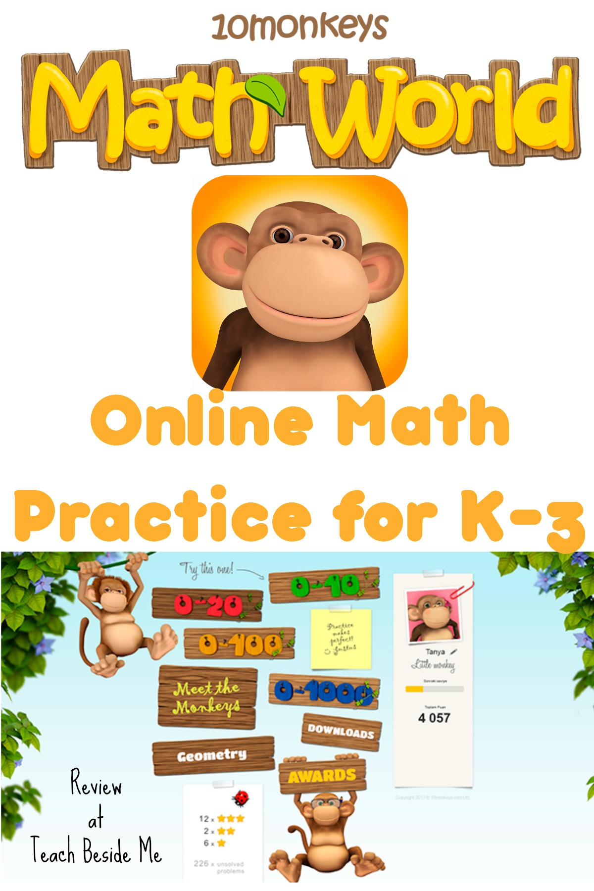 Online Math Practice with 10 Monkeys Math World - Teach Beside Me