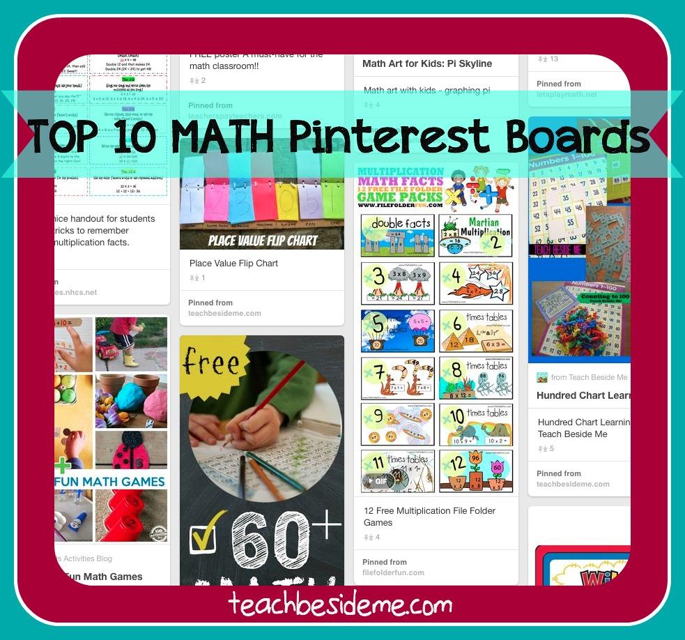Top 10 Math Pinterest Boards Teach Beside Me