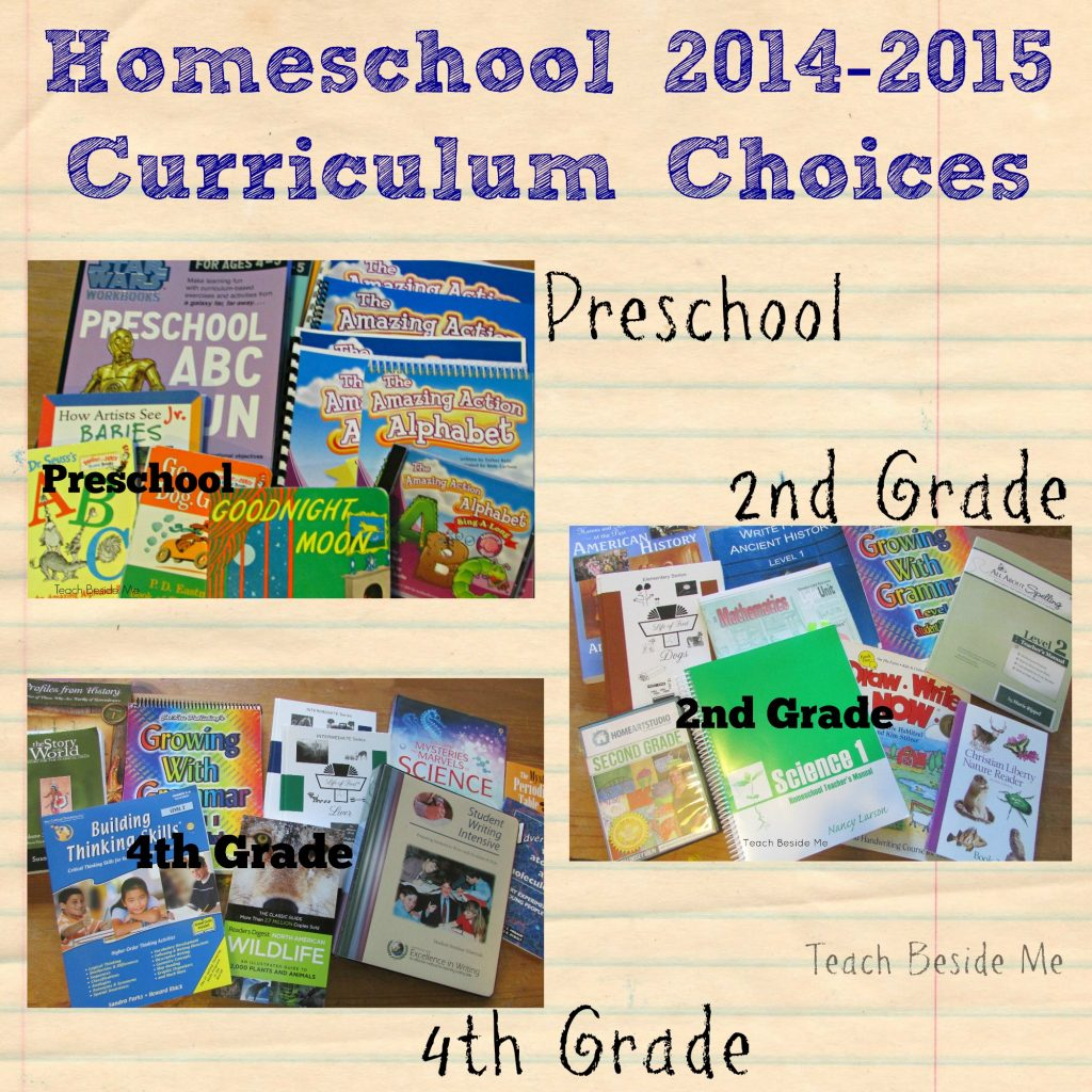 Homeschool curriculum choices- preschool 2nd grade 4th grade