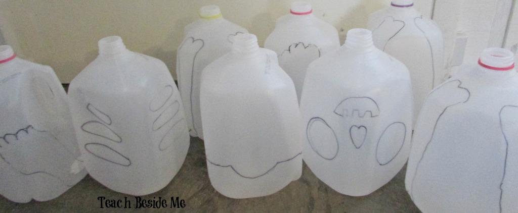 skeleton from milk jugs