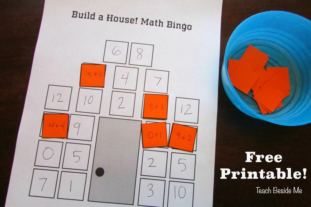 Build-A-House Math Bingo - Free Printable