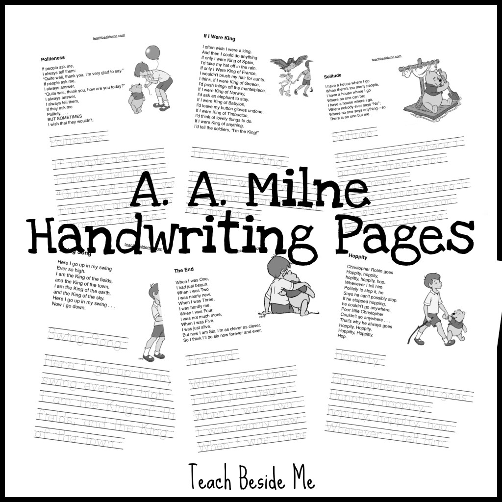 Winnie the Pooh Handwriting pages