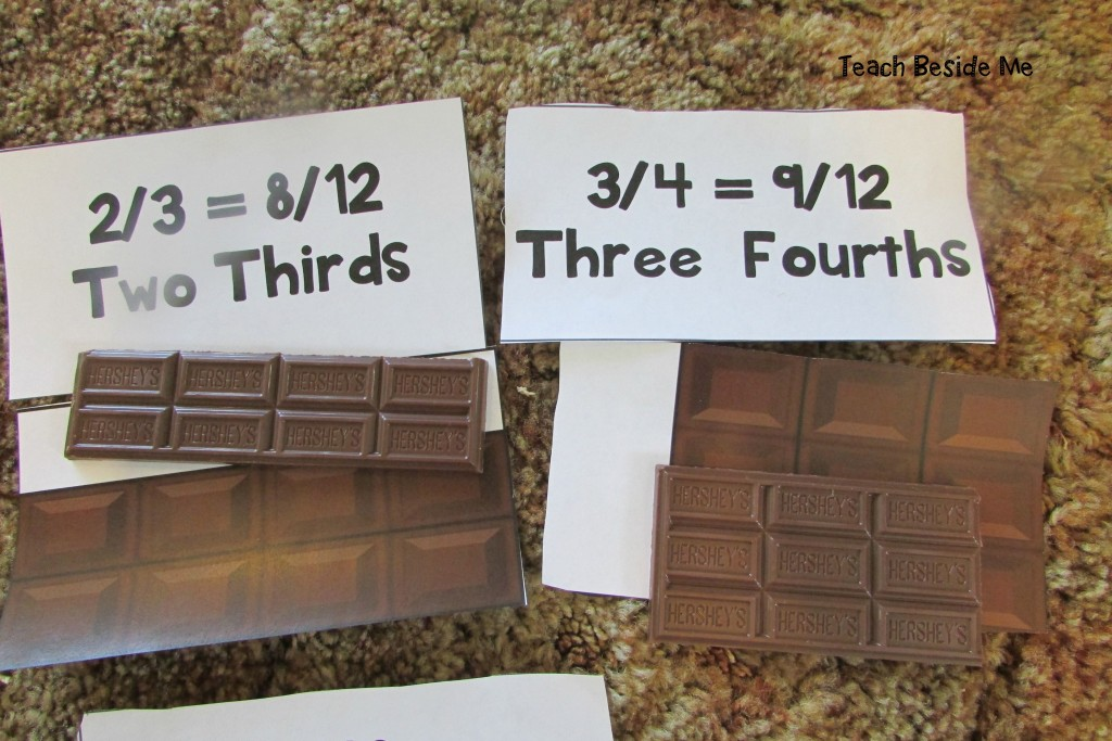Fractions with chocolate bars