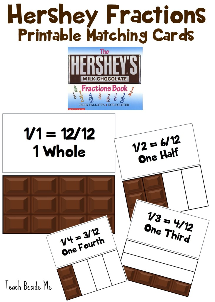 Hershey Fractions Printable Matching Cards from Teach Beside Me