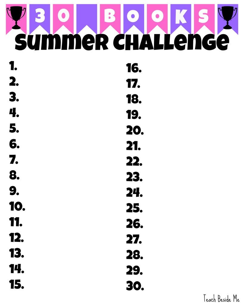 Summer Reading Challenge Pink- Teach Beside Me