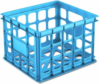 plastic crates for homeschool supply storage
