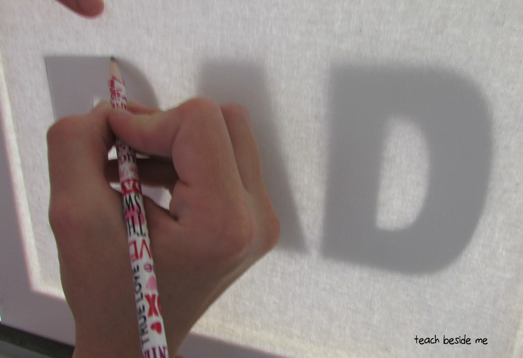 Tracing Dad word art