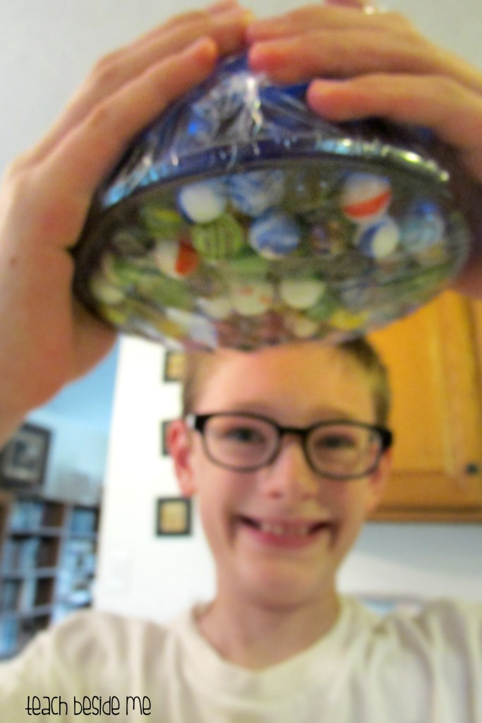 press'n seal experiment with marbles