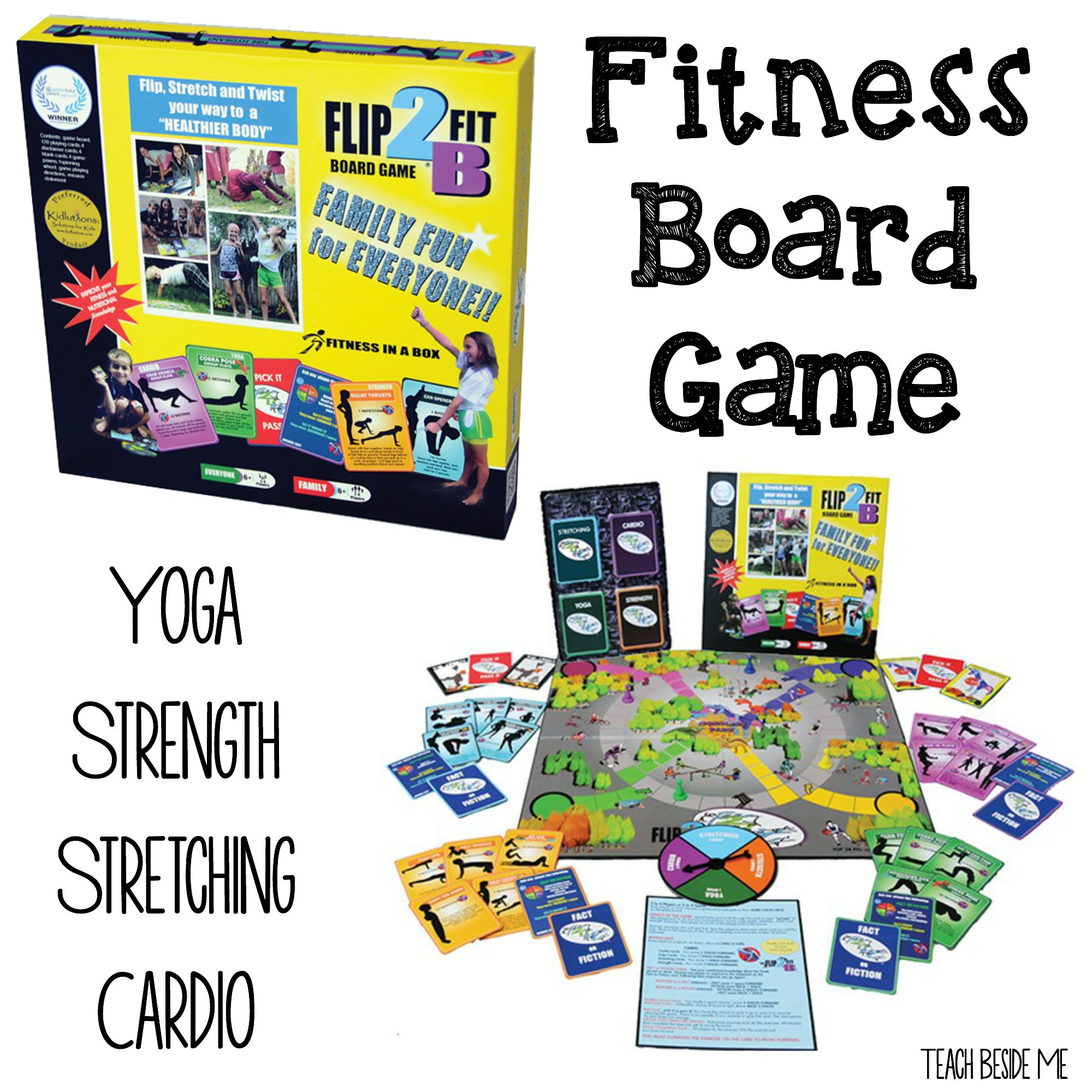 Fitness board game for kids teach beside me