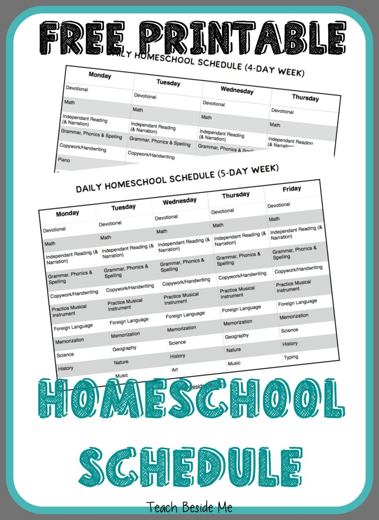 It is a picture of Printable Homeschool Schedule with lesson plan