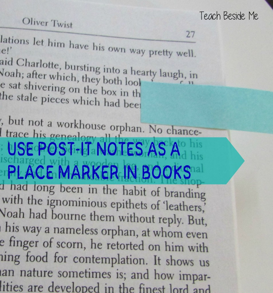 Post-It Notes as a place marker in a book