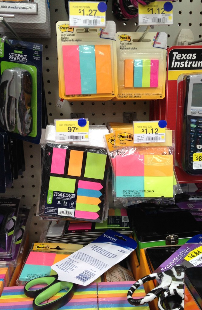 Post-It Notes at Walmart