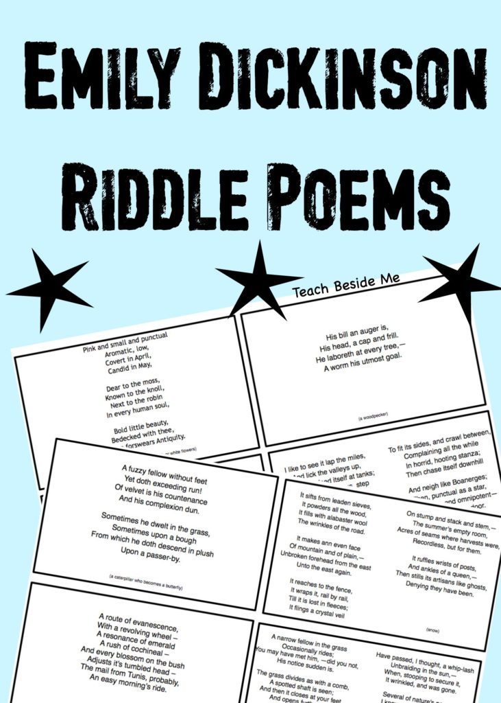 Emily Dickinson Riddle Poems- printable cards