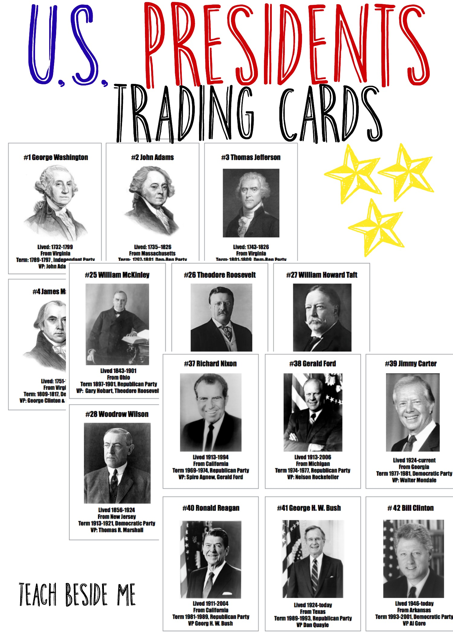 US President Trading Cards- or use for flashcards, timelines