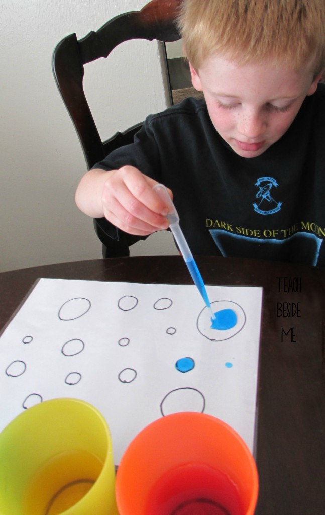 eye dropper colored dots- counting water activity