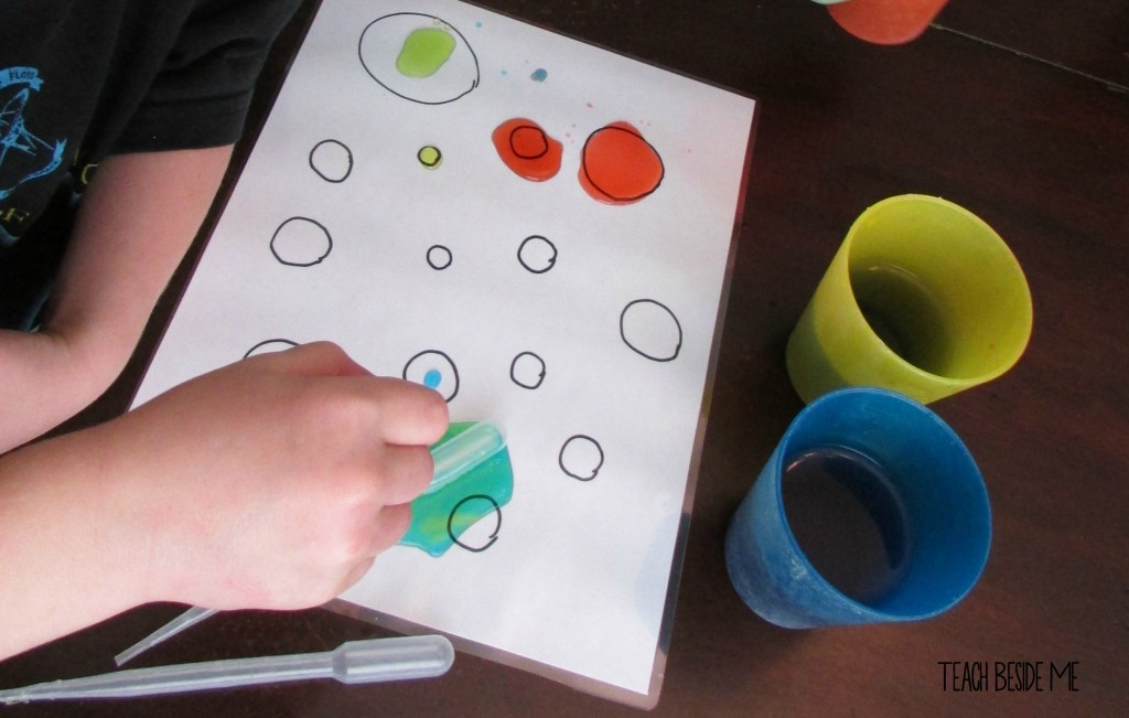 eye dropper dots- preschool counting activity